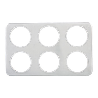"Winco ADP-444 Adapter Plate, 21""W x 13""D, (6) 4-3/4"" holes, fits 2-1/2 quart insets, stainless steel"