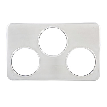 "Winco ADP-666 Adapter Plate, 21""W x 13""D, (3) 6-3/8"" holes, fits 4 quart insets, stainless steel"