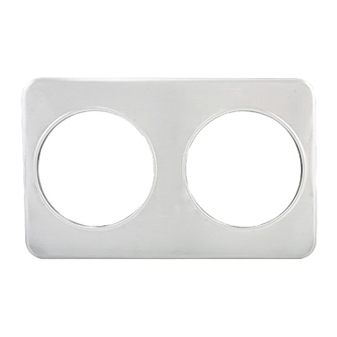 "Winco ADP-808 Adapter Plate, 21""W x 13""D, (2) 8-3/8"" holes, fits 7 quart insets, stainless steel"