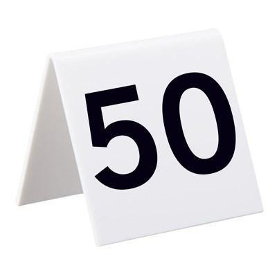 Alpine Industries 493-26-50, Self Standing Number Cards, Numbers 26-50, Acrylic White