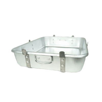 "Thunder  ALRP9604 Double Roasting Pan, 24"" x 18"" x 4-1/2"", with strap and lugs, stackable, drop loop handles, heavy duty, aluminum"