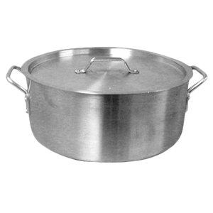 Thunder Group ALSKBP006 Brazier Pot, 30 quart capacity, with cover, 6 mm thick, extra heavy, flat bottom, aluminum, mirror-finish, NSF