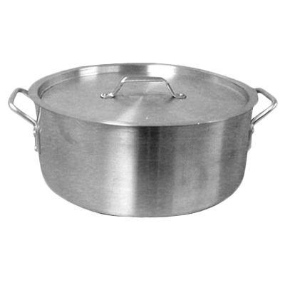 Thunder Group ALSKBP008 Brazier Pot, 40 quart capacity, with cover, 6 mm thick, extra heavy, flat bottom, aluminum, mirror-finish, NSF