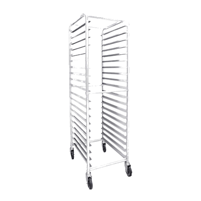 "Thunder Group ALSPR020 Bun Pan Rack, 20-1/4""L x 26""W x 69-1/4""H end load, holds 20 full size or 40 half-size pans, crossbars, aluminum tubing, (4) 5"" swivel casters, NSF"