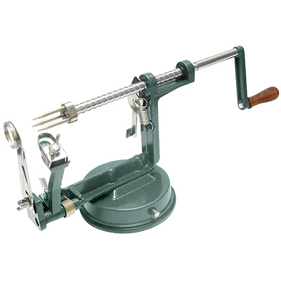 "Winco AP-12 Apple Peeler, 10"" x 6"" x 4-1/4""H, vacuum base, manual, cast aluminum body, stainless steel blades"