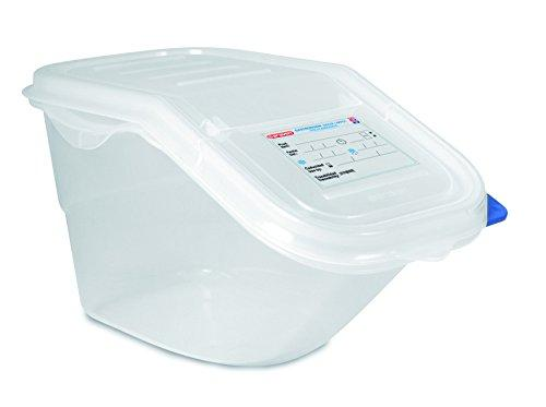 Araven 9146 Ingredient Bin, 1 gallon, GN 1/3 size, Colorclip Coded Lid, Translucent Polypropylene