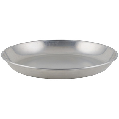 "Winco ASFT-14 Seafood Tray, 13.75"" Dia. x 1.5""H, Brushed Aluminum"