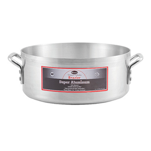 "Winco AXBZ-15 Professional Brazier, 15 quart, 14-3/8"" dia. x 5-3/4""H, round, without cover, reinforced rim and bottom, 3/16"" thick (4.0mm), 3003 aluminum, NSF"
