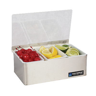 San Jamar B4093L Non-Chilled Garnish Tray - 3 Pint Inserts