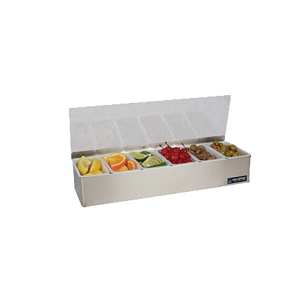 San Jamar B4186L Non-Chilled Garnish Tray - 6 Pint Inserts