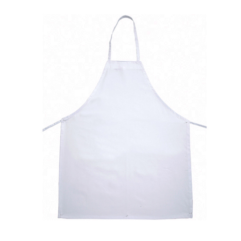 "Winco BA-3226WH Bib Apron, 31"" x 26"", full-length, without pockets, machine wash and dry, cotton/poly blend, white"