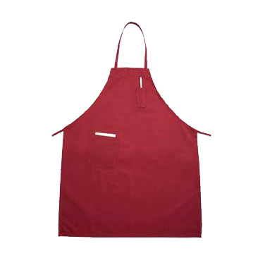 "Winco BA-PRD Bib Apron, 31"" x 26"", full-length, with (2) pockets, machine wash and dry, cotton/poly blend, red"