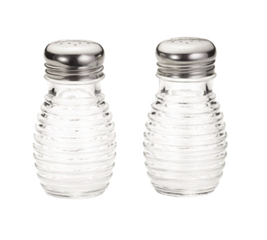 "TableCraft Products BH2 Beehive Collection™ Salt/Pepper Shaker, 2 oz., 2-1/16"" x 3-1/2""H, clear glass, stainless steel tops"