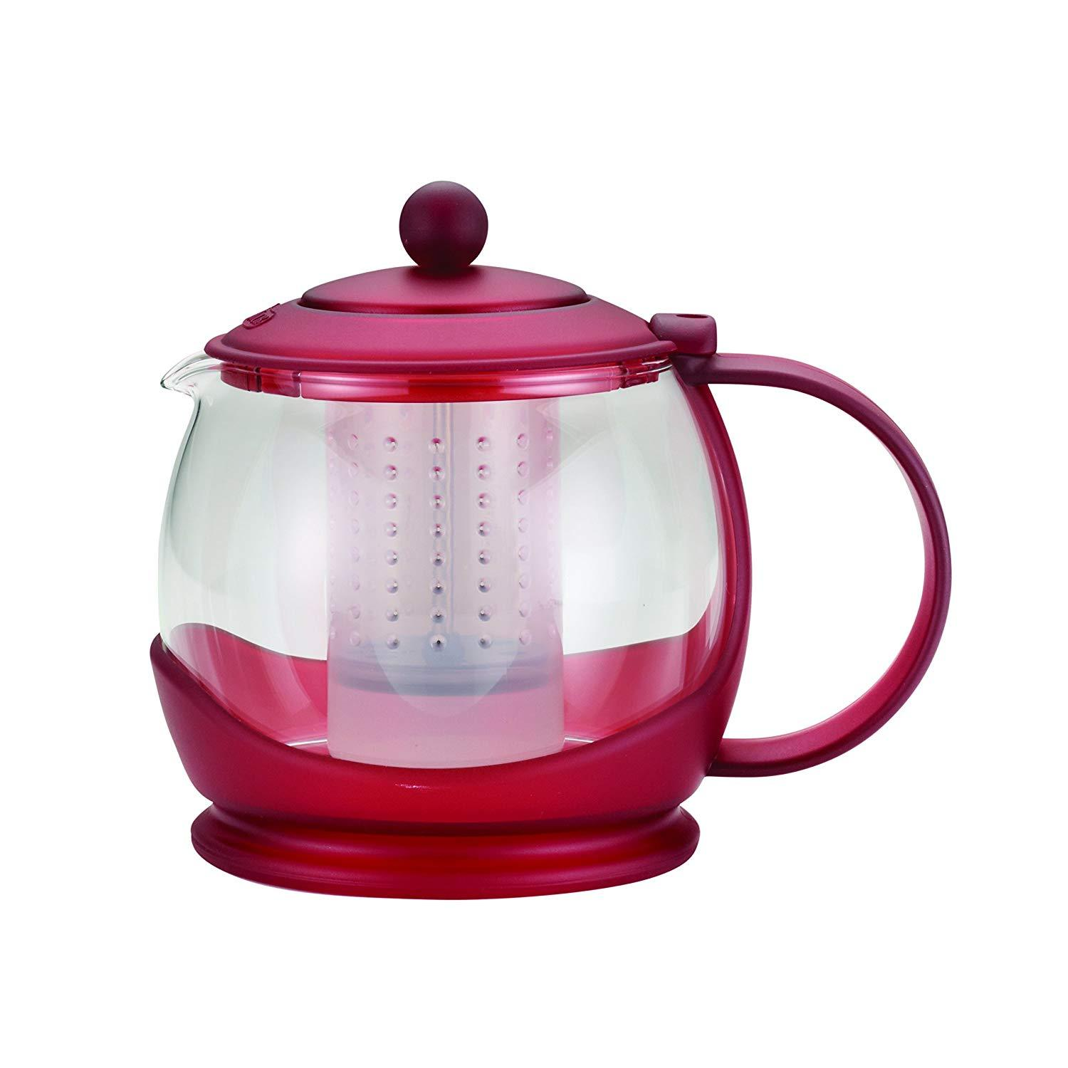Bonjour 46022 Teapot with Flavor Lock System, 42oz, Red