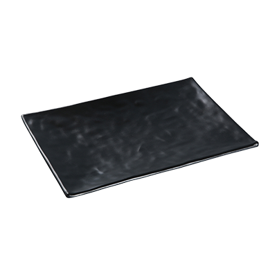 "Yanco BP-2016 Black Pearl Plate, 16"" x 10-1/4"", rectangular, Asian style, melamine, black"