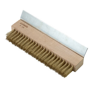 "Winco BR-10 Pizza Oven Brush, 10-1/4"" x 1-3/8"" x 1-3/4"", brass bristles with metal scraper (handle sold separately)"