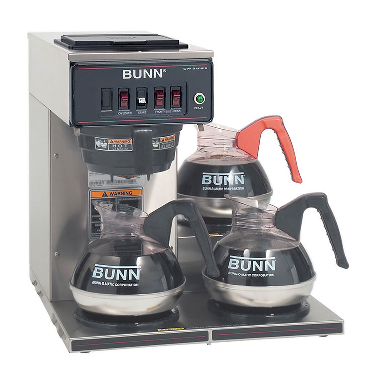 BUNN 12950.0112 CWT15-3 Coffee Brewer, Automatic, Brews 3.9 Gallons Per Hour, with 3 Warmers, 120v