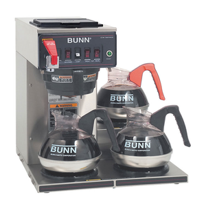 BUNN 12950.0212 CWTF15-3 Coffee Brewer, Automatic, Brews 3.9 Gallons Per Hour, with 3 Warmers, 120v