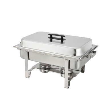 Winco C-3080B Newburg Chafer, 8 quart, full size, rectangular, mirror finish cover with lid clip, plastic handle, includes water pan, food pan and (2) fuel holders, 18/8 stainless steel