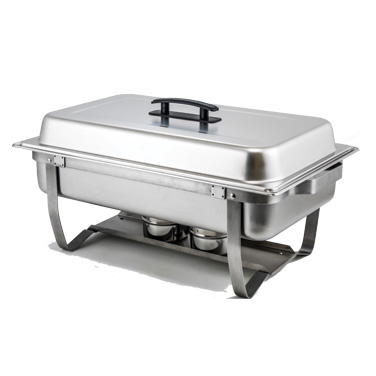 Winco C-4080 Chafer, 8 quart., full size, rectangular, with folding stand, built-in cover clips, includes water pan, food pan, cover and (2) fuel holders, stainless steel