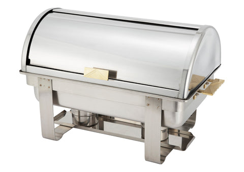 Winco C-5080 Full Size Chafer w/ Roll-top Lid & Chafing Fuel Heat