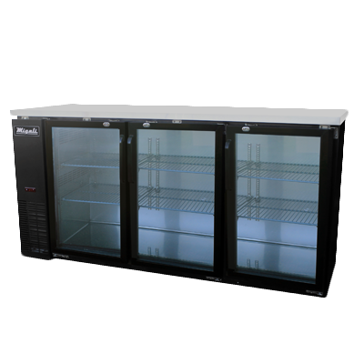 Migali C-BB72G-HC Competitor Series® Three-Section Refrigerated Back Bar Cabinet, 115v/60/1-ph