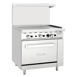 "Migali C-RO-36G-LP Competitor Series® Range with Griddle - Liquid Propane 36"" W, (1) 36"" Griddle, (1) Oven"