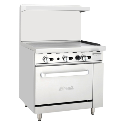 "Migali C-RO-36G-NG Competitor Series® Range with Griddle, natural gas, 36"" W, (1) 36"" griddle, (1) oven"
