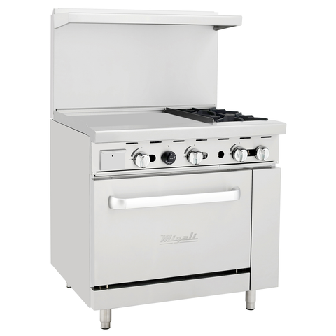 "Migali C-RO2-24GL-LP Competitor Series® Range with Griddle - Liquid Propane, 36"" W, (2) Burners, (1) 24"" Griddle, (1) Oven"