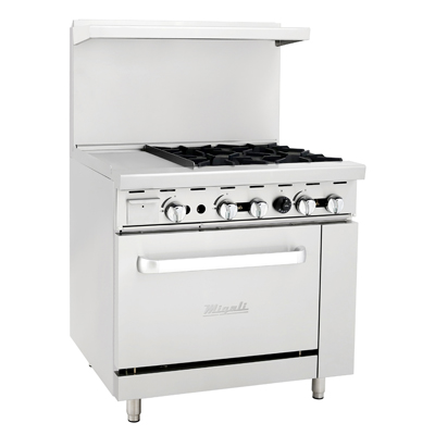 "Migali C-RO4-12GL-NG Competitor Series® Range with Griddle - Natural Gas, 36""W, (4) Burners, (1) 12"" Griddle, (1) Oven"