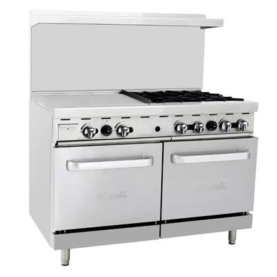 "Migali C-RO4-24GL-LP Competitor Series® Liquid Propane Range with Griddle - 48"" W, (4) burners, (1) 24"" Griddle, (2) Ovens"