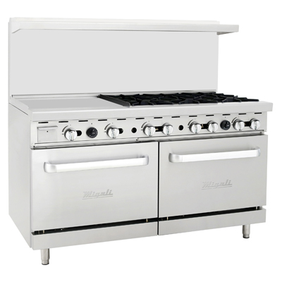 "Migali C-RO6-24GL-LP Competitor Series® Liquid Propane Range with Griddle - 60""W, (6) Burners, (1) 24"" Griddle, (2) Ovens"