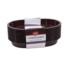 "TableCraft Products C1076BR Cash & Carry Chicago Baskets, 10-5/8"" x 7"" x 1-1/2"", oval, plastic, brown, Made in USA"