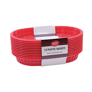 TableCraft Products C1076R Cash & Carry Chicago Oval Baskets, Plastic, Red