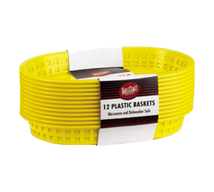 "TableCraft Products C1076Y Cash & Carry Chicago Baskets, 10-5/8"" x 7"" x 1-1/2"", oval, plastic, yellow, Made in USA"