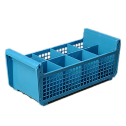 "Carlisle C32P114 OptiClean™ Perma-San™ Flatware Basket, 17-1/16"" x 7-3/4"" x 6-7/8"", 8-compartments (3-1/2"" x 3-1/2""), polypropylene, blue, NSF"
