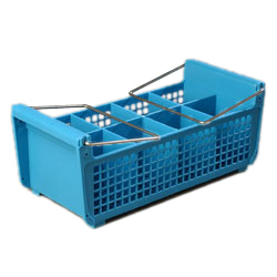 "Carlisle C32P214 OptiClean™ Perma-San™ Flatware Basket, 17-1/16"" x 7-3/4"" x 6-7/8"", 8-compartments (3-1/2"" x 3-1/2""), polypropylene, blue, NSF"