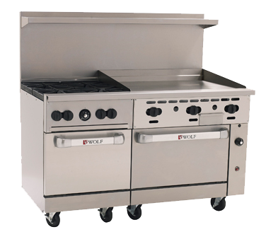 "Wolf C60SS-4B36G Challenger XL™ Restaurant Range, 60"", gas, (4) 30,000 BTU burners with lift-off burner heads, 36"" fry top, (2) standard oven bases, 238,000 BTU, CSA, NSF"