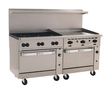 "Wolf C72SS-6B36G Challenger XL™ Restaurant Range, 72"", gas, (6) 30,000 BTU burners, 36"" manual griddle, 3/4"" thick, 310,000 BTU, CSA Flame, CSA Star, NSF"
