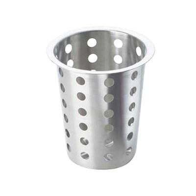 "Cal-Mil 101 Round Perforated Cutlery Cylinder, 5.5""H, Stainless, Silver"
