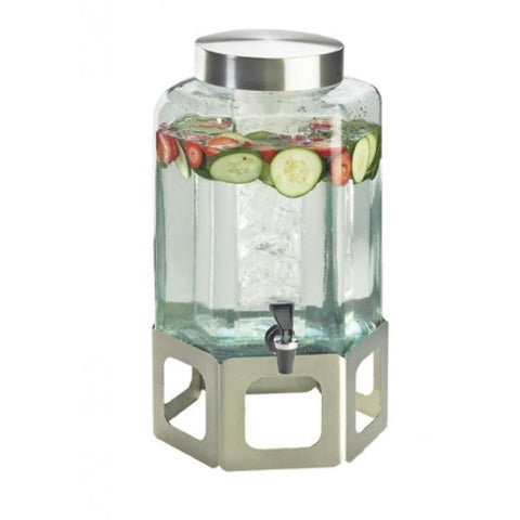 Cal-Mil 1111INF-55 2 Gallon Hexagon Beverage Infusion Dispenser - Lid, Spigot, Glass, Stainless