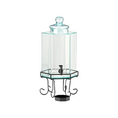 Cal-Mil 1111 2-Gallon Octagonal Glass Beverage Dispenser with Wire Base and Ice Chamber
