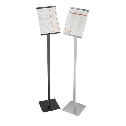 "Cal-Mil 1153-46-74 46"" Freestanding Sign Display Stand - 8.5"" X 11"" Frame, Metal, Silver"