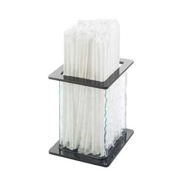 "Cal-Mil 1228-4 4.75"" Square Straw Holder with Faux Glass Body, Black Top & Bottom"
