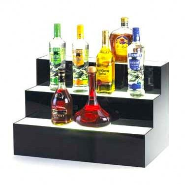 Cal-Mil 1269 3 Tier Lighted Bottle Display - Acrylic, Black