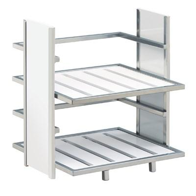 Cal-Mil 1278-15 2 Tier Display Stand, Silver/White Bamboo