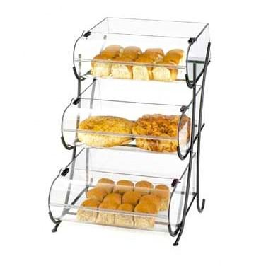 Cal-Mil 1280-3 3 Tier Pastry Display Stand with Hinged Bins - Iron, Black
