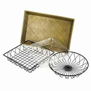 "Cal-Mil 1292TRAY 12"" Round Display Basket For 1292 Tray Rack - Wire, Black"