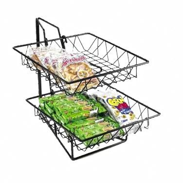 "Cal-Mil 1293-2 2 Tier Display Rack with 12"" Square Wire Baskets, Black Wire"