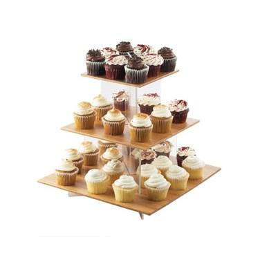 "Cal-Mil 1318-60 3 Tier Cupcake Display Stand - 20""W X 20""D X 17.25""H, Bamboo"